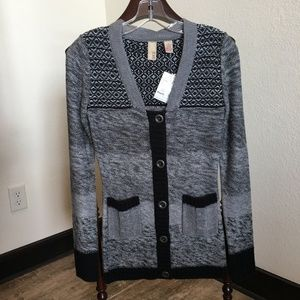 BKE Black and Gray Marled Button Up Sweater   303